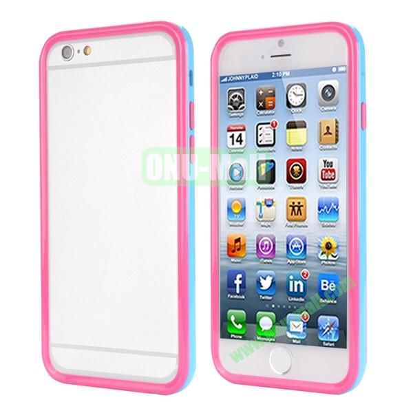 Ultrathin Double Color Detachable TPU and PC Bumper Frame Case for iPhone 6 Plus 5.5 inch (Blue and Pink)
