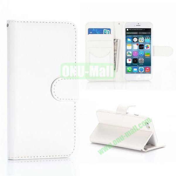 Flip Magnetic Stand PU Leather Case for iPhone 6 Plus 5.5 inch (White)