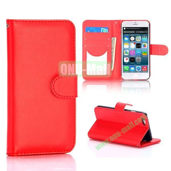 Flip Magnetic Stand PU Leather Case for iPhone 6 Plus 5.5 inch (Red)