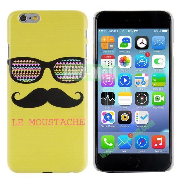 Special Pattern PC Hard Case for iPhone 6 Plus 5.5 inch (Sunglasses & Mustache in Yellow Background)