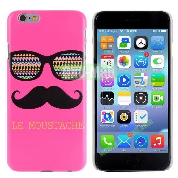 Special Pattern PC Hard Case for iPhone 6 Plus 5.5 inch (Sunglasses and Mustache in Rose Background)