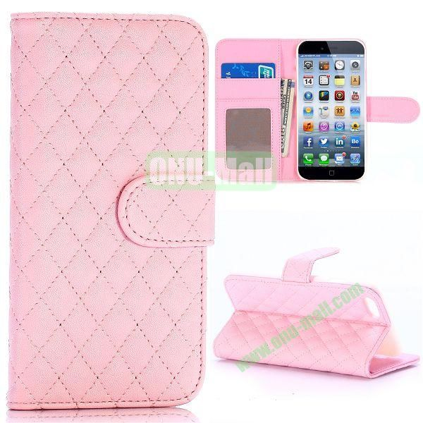 Grid Pattern Wallet Style PC and PU Leather Case for iPhone 6 Plus 5.5 inch (Pink)