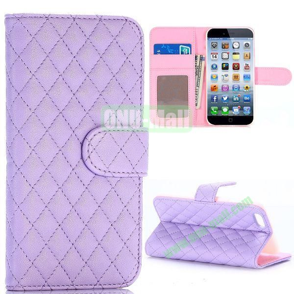 Grid Pattern Wallet Style PC and PU Leather Case for iPhone 6 Plus 5.5 inch (Purple)
