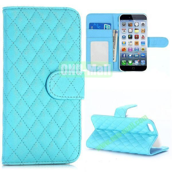 Grid Pattern Wallet Style PC and PU Leather Case for iPhone 6 Plus 5.5 inch (Blue)