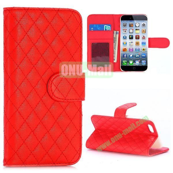 Grid Pattern Wallet Style PC and PU Leather Case for iPhone 6 Plus 5.5 inch (Red)