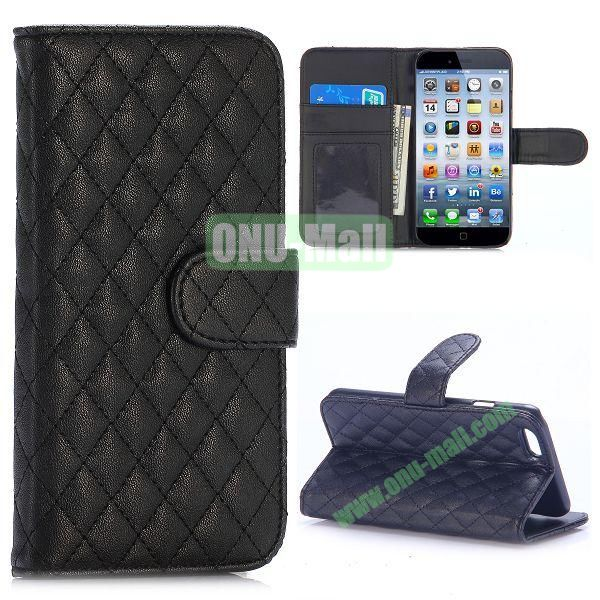 Grid Pattern Wallet Style PC and PU Leather Case for iPhone 6 Plus 5.5 inch (Black)