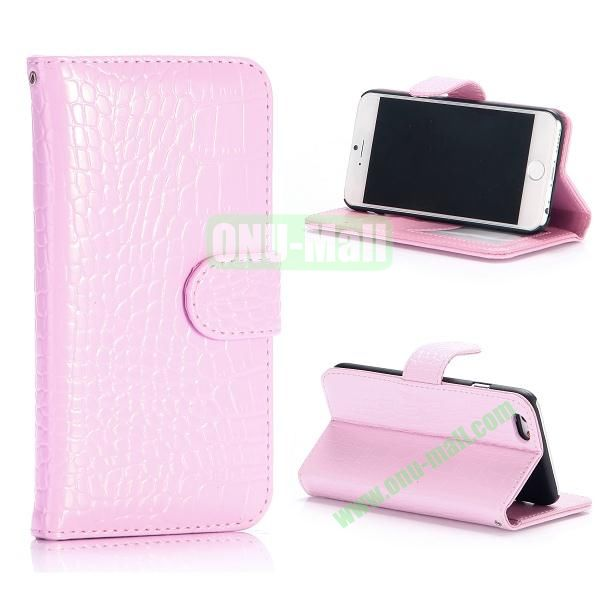 Crocodile Pattern Flip Stand Leather Case For iPhone 6 Plus 5.5 inch With Card Slots (Pink)