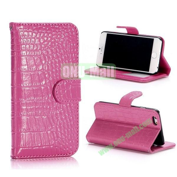 Crocodile Pattern Flip Stand Leather Case For iPhone 6 Plus 5.5 inch With Card Slots (Rose)