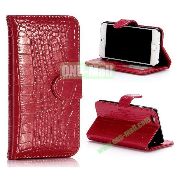 Crocodile Pattern Flip Stand Leather Case For iPhone 6 Plus 5.5 inch With Card Slots (Red)