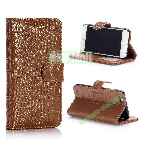 Crocodile Pattern Flip Stand Leather Case For iPhone 6 Plus 5.5 inch With Card Slots (Brown)