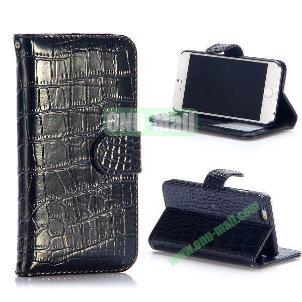 Crocodile Pattern Flip Stand Leather Case For iPhone 6 Plus 5.5 inch With Card Slots (Black)