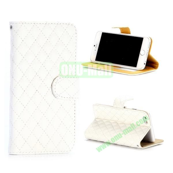 Rhombus Pattern Wallet Style Flip Stand Leather Case For iPhone 6 Plus 5.5 inch (White)