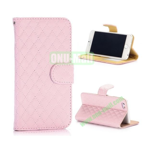 Rhombus Pattern Wallet Style Flip Stand Leather Case For iPhone 6 Plus 5.5 inch (Pink)