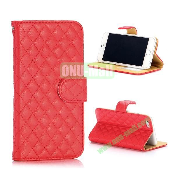 Rhombus Pattern Wallet Style Flip Stand Leather Case For iPhone 6 Plus 5.5 inch (Red)