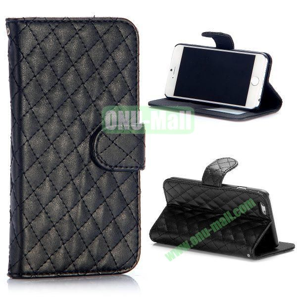 Rhombus Pattern Wallet Style Flip Stand Leather Case For iPhone 6 Plus 5.5 inch (Black)