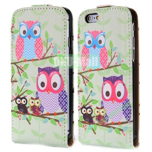 Up and Dowm Vertical Pattern Magnetic Flip Leather Case for iPhone 6 Plus 5.5 inch (Owl Family)