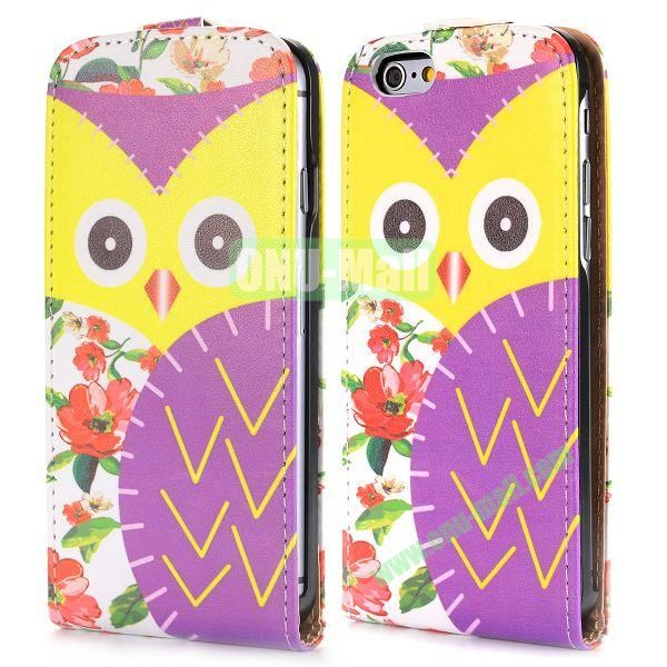 Up and Dowm Vertical Pattern Magnetic Flip Leather Case for iPhone 6 Plus 5.5 inch (Mix Color Owl)