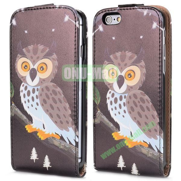 Up and Dowm Vertical Pattern Magnetic Flip Leather Case for iPhone 6 Plus 5.5 inch (Coffee Owl)