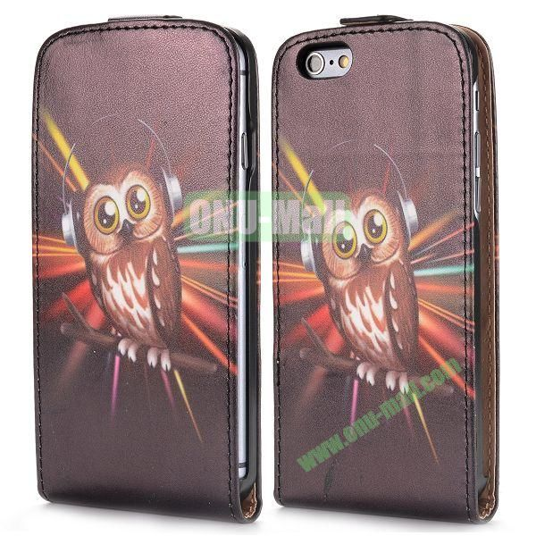Up and Dowm Vertical Pattern Magnetic Flip Leather Case for iPhone 6 Plus 5.5 inch (Music Owl)