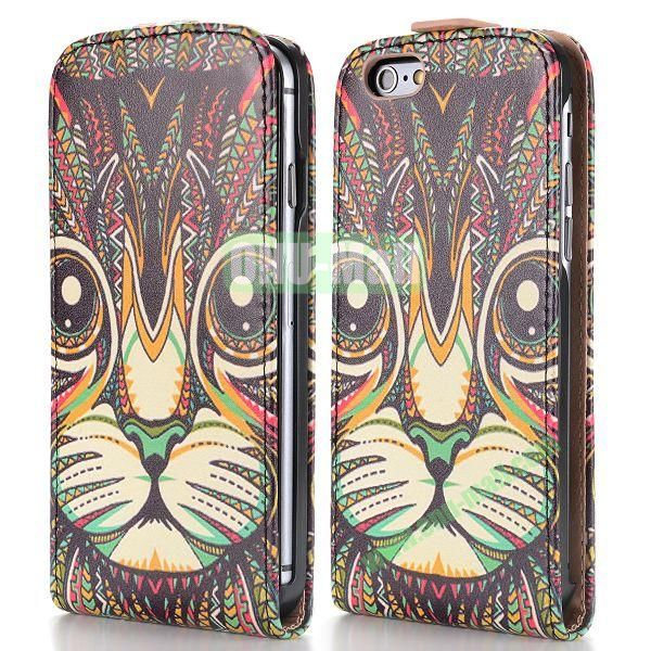 2014 New Design Special Tribal Pattern Vertical Magnetic Flip Leather Case for iPhone 6 Plus 5.5 inch (Tribal Cat)