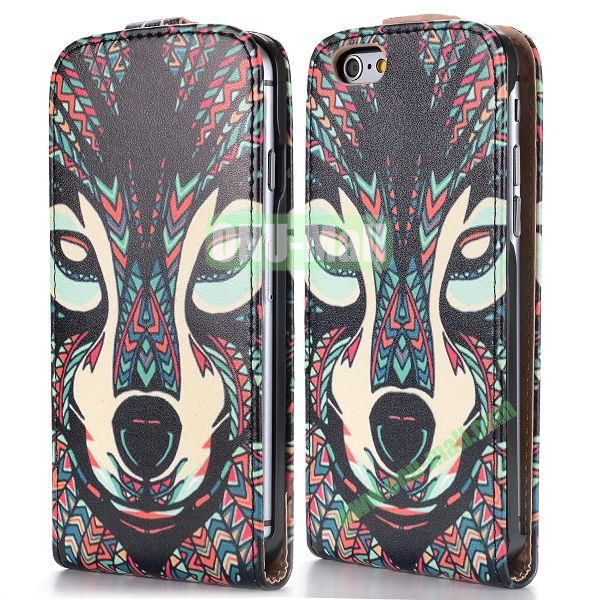 2014 New Design Special Tribal Pattern Vertical Magnetic Flip Leather Case for iPhone 6 Plus 5.5 inch (Tribal Wolf)