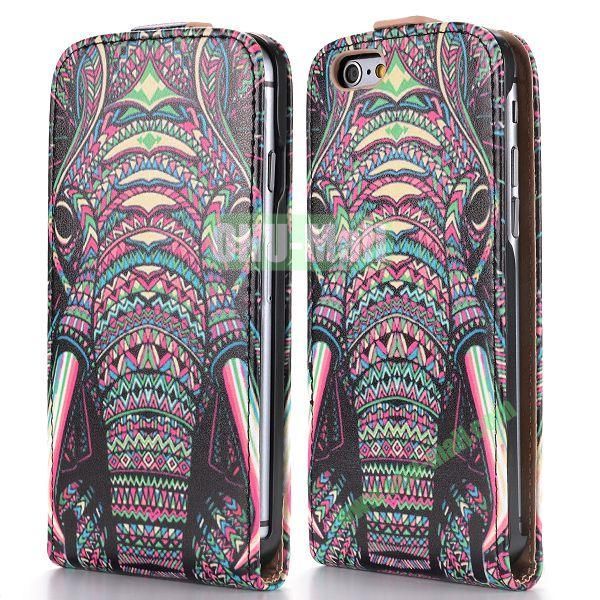 2014 New Design Special Tribal Pattern Vertical Magnetic Flip Leather Case for iPhone 6 Plus 5.5 inch (Tribal Elephant)