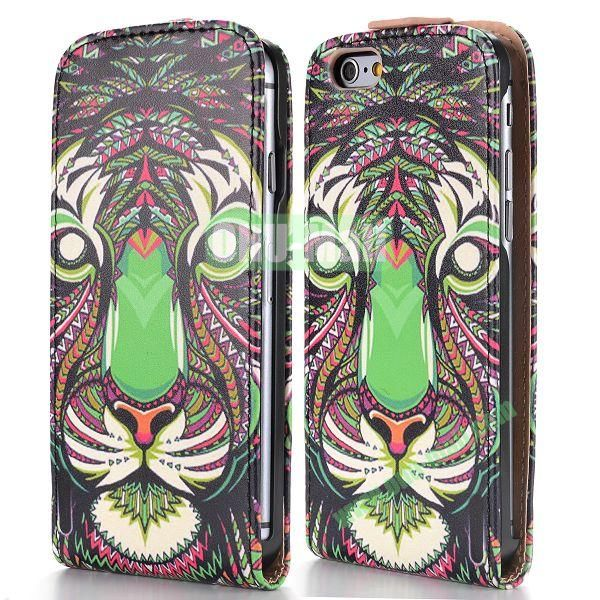 2014 New Design Special Tribal Pattern Vertical Magnetic Flip Leather Case for iPhone 6 Plus 5.5 inch (Tribal Tiger)