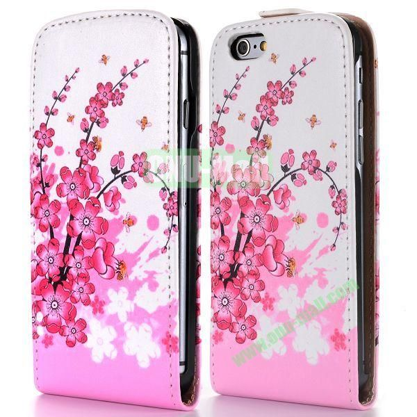 Plum Blossom Flower Pattern Vertical Magnetic Flip PC+PU Leather Case for iPhone 6 Plus 5.5 inch