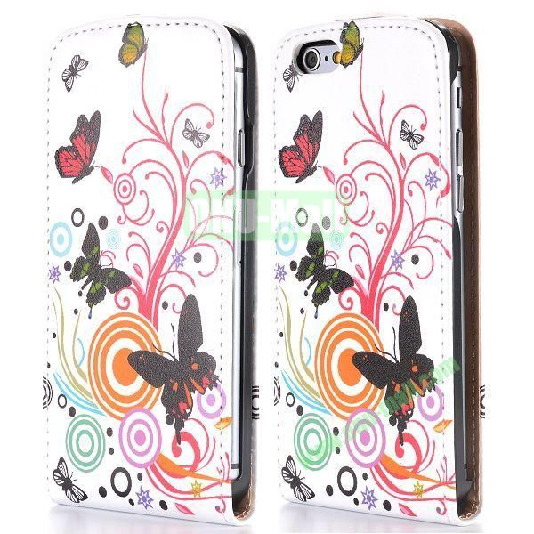 Butterfly and Circle Pattern Vertical Magnetic Flip PC+PU Leather Case for iPhone 6 Plus 5.5 inch