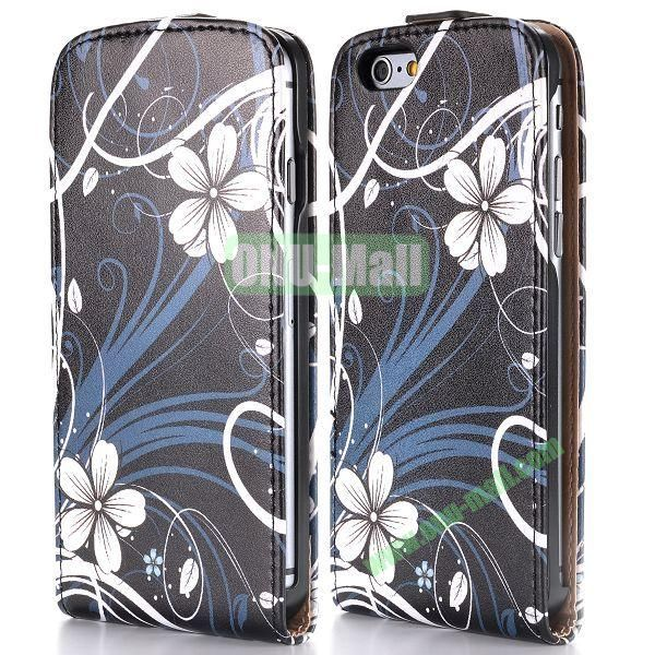 White Flowers Pattern Vertical Magnetic Flip PC+PU Leather Case for iPhone 6 Plus 5.5 inch
