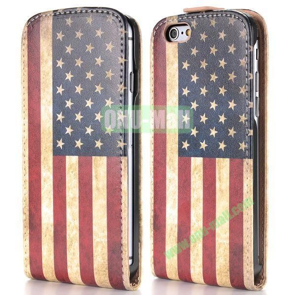 Retro USA Flag Pattern Vertical Magnetic Flip PC+PU Leather Case for iPhone 6 Plus 5.5 inch