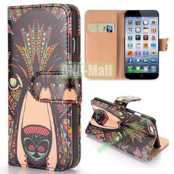 Cool Tribal Style Wolf Pattern Wallet Magnetic Flip PC+PU Leather Case for iPhone 6 Plus 5.5 inch
