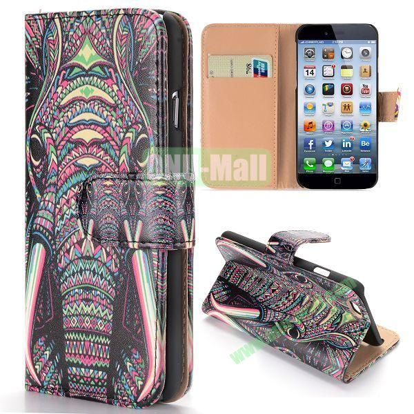 Cool Tribal Style Elephant Pattern Wallet Magnetic Flip PC+PU Leather Case for iPhone 6 Plus 5.5 inch