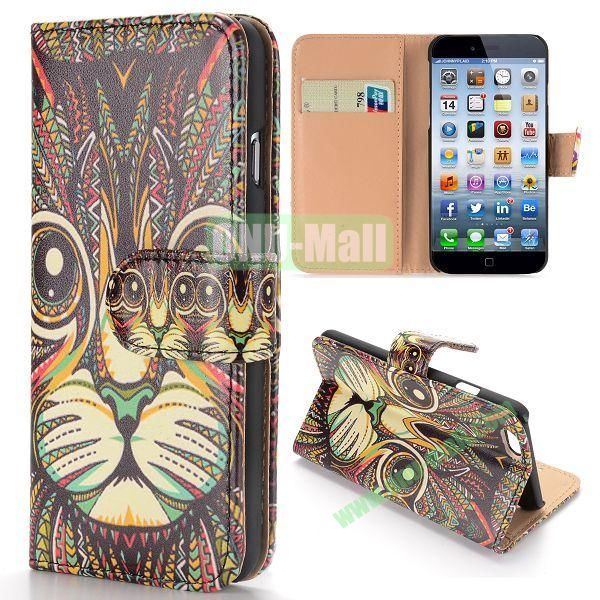 Cool Tribal Style Cat Pattern Wallet Magnetic Flip PC+PU Leather Case for iPhone 6 Plus 5.5 inch