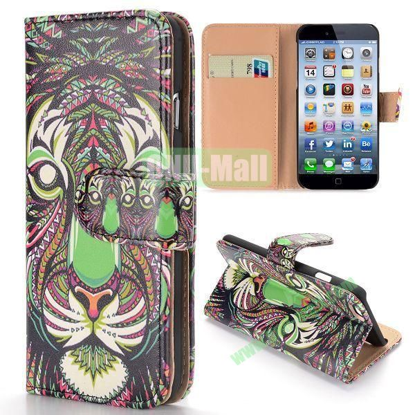 Cool Tribal Style Tiger Pattern Wallet Magnetic Flip PC+PU Leather Case for iPhone 6 Plus 5.5 inch