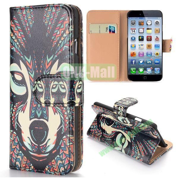 Cool Tribal Style Dog Pattern Wallet Magnetic Flip PC+PU Leather Case for iPhone 6 Plus 5.5 inch