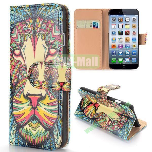 Cool Tribal Style Leopard Pattern Wallet Magnetic Flip PC+PU Leather Case for iPhone 6 Plus 5.5 inch