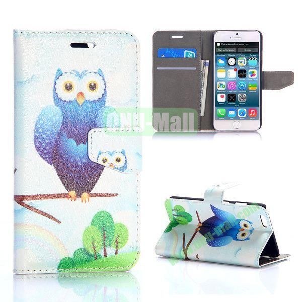 Cute Owl Pattern Silk Pattern Magnetic Flip Stand PC+PU Leather Case for iPhone 6 Plus 5.5 inch
