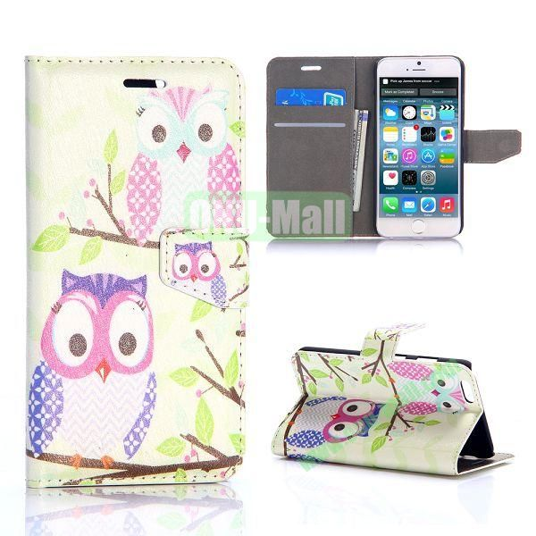Lovely Two Owls Pattern Silk Pattern Magnetic Flip Stand PC+PU Leather Case for iPhone 6 Plus 5.5 inch