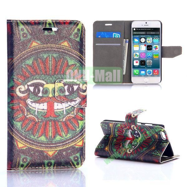Funny Tribal Pattern Silk Pattern Magnetic Flip Stand PC+PU Leather Case for iPhone 6 Plus 5.5 inch
