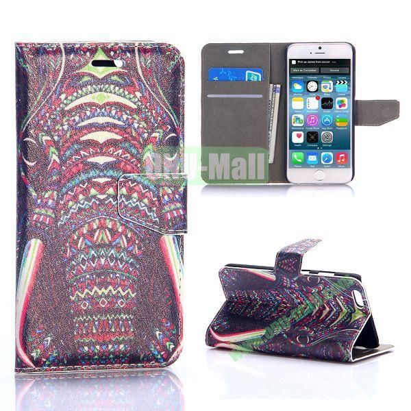 Tribal Elephant Pattern Silk Pattern Magnetic Flip Stand PC+PU Leather Case for iPhone 6 Plus 5.5 inch