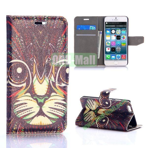 Tribal Cat Pattern Silk Pattern Magnetic Flip Stand PC+PU Leather Case for iPhone 6 Plus 5.5 inch