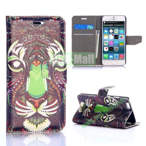 Tribal Tiger Pattern Silk Pattern Magnetic Flip Stand PC+PU Leather Case for iPhone 6 Plus 5.5 inch