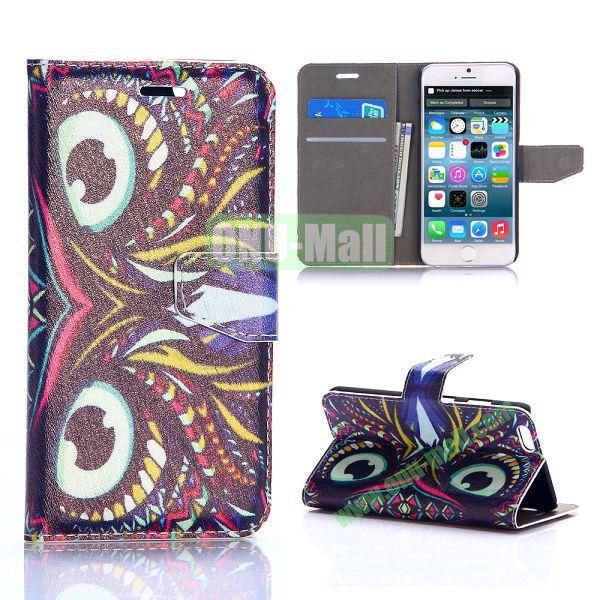 Tribal Owl Pattern Silk Pattern Magnetic Flip Stand PC+PU Leather Case for iPhone 6 Plus 5.5 inch