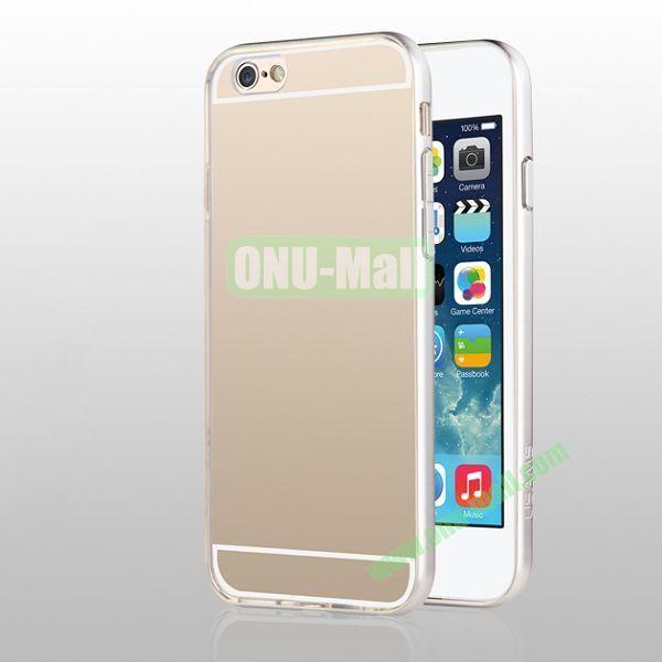 USAMS Slim Series 0.6mm Ultra Thin TPU+PC Bumper Hybrid Case for iPhone 6 4.7 inch (Silver+Transparent)