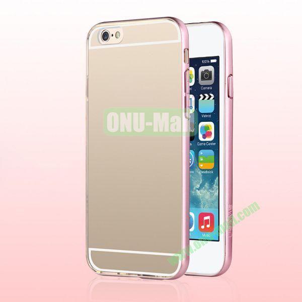USAMS Slim Series 0.6mm Ultra Thin TPU+PC Bumper Hybrid Case for iPhone 6 4.7 inch (Pink+Transparent)