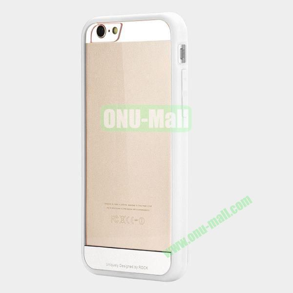 ROCK Simple Style Transparent PC+Fexible TPU Edge Hybrid Case for iPhone 6 4.7 inch (White)