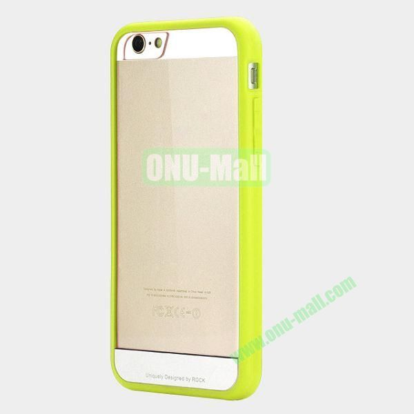 ROCK Simple Style Transparent PC+Fexible TPU Edge Hybrid Case for iPhone 6 4.7 inch (Green)