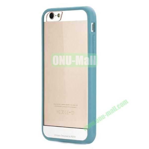 ROCK Simple Style Transparent PC+Fexible TPU Edge Hybrid Case for iPhone 6 4.7 inch (Blue)