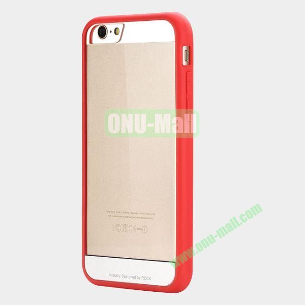 ROCK Simple Style Transparent PC+Fexible TPU Edge Hybrid Case for iPhone 6 4.7 inch (Red)